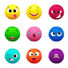 funny colors funny furry faces of monsters puffy balls of different colors stock