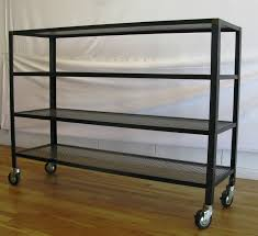 industrial metal shelves on casters for basement breezeway and