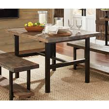 Natural Wood Furniture by Alaterre Furniture Pomona Rustic Natural Dining Table Amba1720