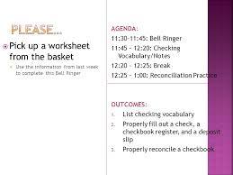 please u2026 pick up a worksheet from the basket agenda ppt download