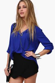 womens tops and blouses blue chiffon v neck high low blouse womens shirts blouses