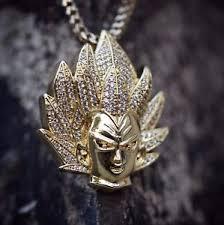 custom necklace pendant custom 14k gold plated iced vegeta pendant necklace ebay
