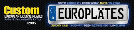 Make Your Own Vanity Plate Custom European License Plates Make Your Own Europlates