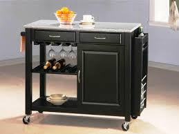 elegant black kitchen utility cart with grey granite top with