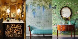 Bedroom Wall Covered In Posters De Gournay
