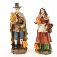 resin harvest figurine indians pilgrims turkeys