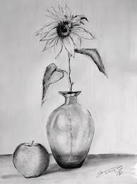still life glass vase with one sunflower and one apple drawing
