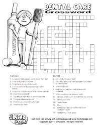 dental care crossword free printable learning activities for