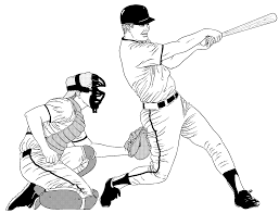 baseball coloring page bat and baseball in glove coloring page