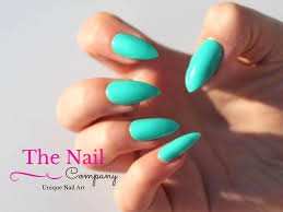 handpainted fake nails set turquoise false nails stiletto