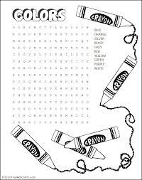 printable word search printable colors word search