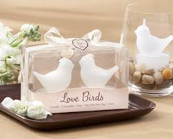 wedding favors candles birds white bird tea candles