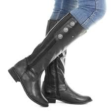 womens boots size 3 womens black leather style wide calf fit button knee high
