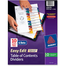avery 15 tab table of contents color template avery ready index customizable table of contents easy edit dividers