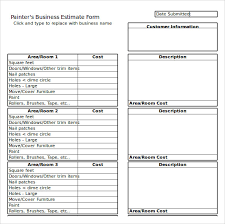 cost estimate template painting work estimate template format