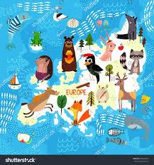 cartoon world map traditional animals illustrated stock vector