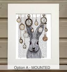Rabbit Home Decor Alice In Wonderland Print Rabbit Time By Fabfunky Home Decor