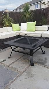 large fire pit table garden mile black powder coated metal large outdoor garden bbq fire