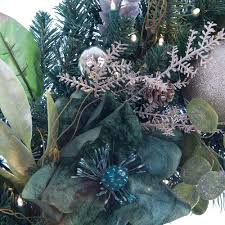 shimmery green u0026 pewter decorated wreath christmas world
