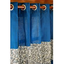 Blue Silk Curtains Glamorous Blue Sequin Embroidered Silk Curtain Panels