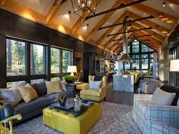 floor hgtv dream home plan leather ottoman serves as coffee table