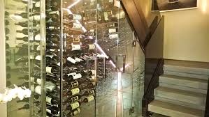 decorations terrific wine rack under stairs with clear glass