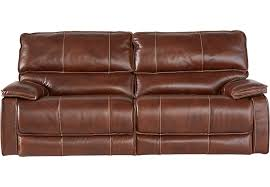 cindy crawford home san michele brown leather reclining sofa