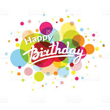 happy birthday greeting card on colorful back with circles stock