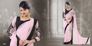 sophisticated light pink u0026 black saree