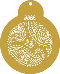paisley and circles ornament cookie stencils