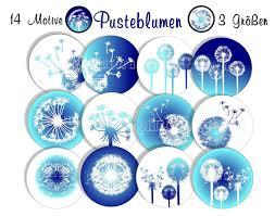 Cabochon Vorlagen Blau Digitale Downloads Cabochon Vorlagen Pusteblumen 14 Motive Set 2