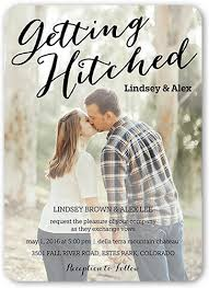 wedding invitations with pictures hitched script 5x7 wedding card wedding invitations shutterfly