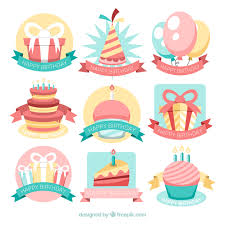 birthday stickers pack of birthday stickers in vintage style vector free