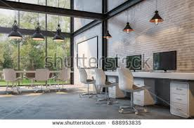 loft style office 3d rendering imagethere stock illustration