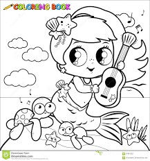 coloring pages mermaids coloring page mermaid by the sea playing music with her guitar