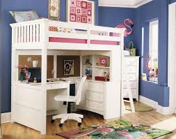 bedroom low loft bunk with storage and pull out desk for kids full