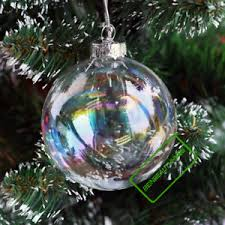 clear iridescent glass fillable baubles balls x wedding