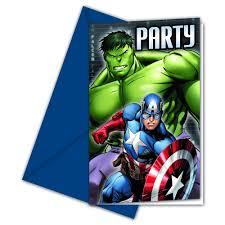avengers party invitations 6pk at wilko com