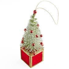 miniature glittered bottle brush tree ornament