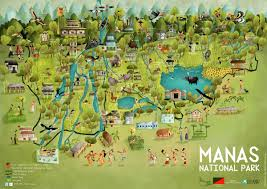 Water Country Map Green Humour Manas National Park An Illustrated Map