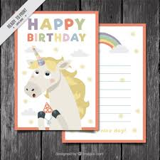 nice unicorn birthday card vector free download