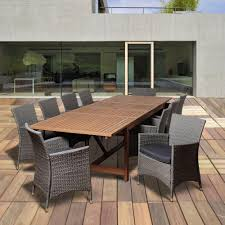 amazonia bruce 11 piece eucalyptus extendable rectangular patio