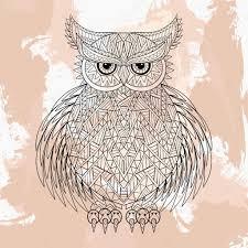 zentangle vector owl tattoo design in doodle style ornamental