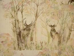 Designer Upholstery Fabrics Voyage Decoration Enchanted Forest Deer Linen Designer Curtain