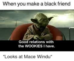 Mace Windu Meme - when you make a black friend good relations with the wookies i have