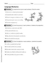 language mechanics nouns pronouns prepositions adjectives and