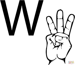asl sign language letter w coloring page free printable coloring