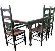 distressed black and walnut country dining table wes dalgo