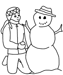 kids making a snowman free winter coloring pages making a