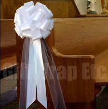 church pew decorations 6 large white pull bows tulle tails wedding church pew decorations